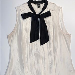 Club Monaco tuxedo silk tunic tie-neck top blouse
